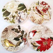 Set 4 Pottery Barn Songbird Dessert Salad Plates Christmas Carols Birds Music