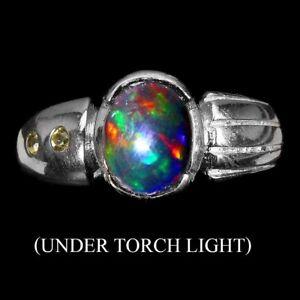 Oval Black Opal 9x7mm Sapphire Diamond Cut 925 Sterling Silver Ring Size 8.5