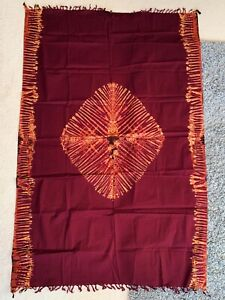African Fabric Material - table cloth - blanket - Authentic - Burgundy