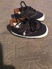 Polo Ralph Lauren Baby Boy Crib Canvas Navy Blue Shoes Size 2