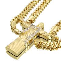 """Hip Hop 14k Gold PT Huge Christ The Redeemer Pendant 30"""" Cuban Chain CZ"""