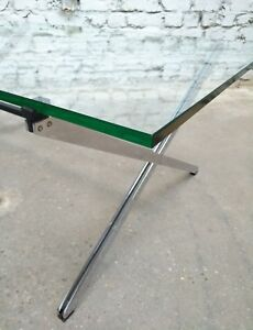 EXCELLENT FLORENCE KNOLL PARALLEL BAR COFFEE TABLE TISCH 1960s CHROME GLASS