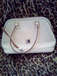 "Dooney & Bourke Cream Grain Leather Satchel Purse Hand Bag. 40"" W X 10"" H...."