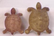 2 Vintage Turtle Celluloid Toys Christmas Putz Train Display Green Brown #69