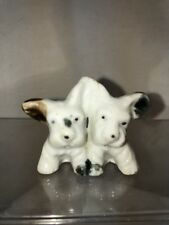 Vtg 30-40's Japan Porcelain Black White Terrier Miniature Puppies Dog Figurine