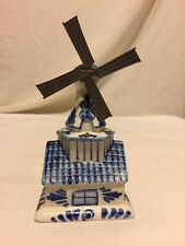 Vintage Hand Painted Delfts Blue Windmill Bank Figurine