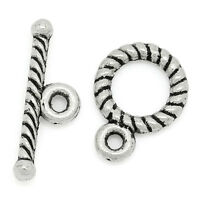 50Sets New Silver Tone Toggle Clasps 9x11mm