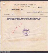 VINTAGE INVOICE / MAYAGUEZ TRANSPORT INC / MAYAGUEZ PUERTO RICO / 1948
