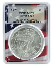 2007 1oz Silver Eagle PCGS MS70 - Flag Frame