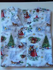 Scrub Christmas St Nick Santa Tree Sled Stars  X Large UA Bell House