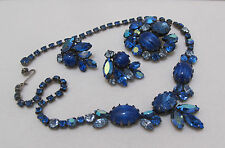 Vtg Signed REGENCY AB Blue Rhinestones &Striated Glass Cab Necklace Pin Earrings