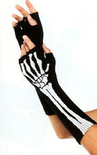 Leg Avenue 2144 Gloves Skeleton Fingerless Bony Acrylic Warmers One Size Black