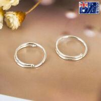 925 Sterling Silver Solid 10MM Piercing Round Plain Huggie Hoop Earrings Jewelry