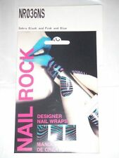 NAIL ROCK Designer Nail Wraps NR036NS Zebra Black & Pink & Blue Made in UK - NEW