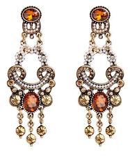 Drop Dangle Stud long Earrings 68 1pair Wholesal Orange Crystal Rhinestone Ear