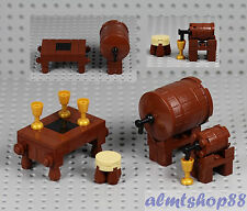 LEGO - 2x Wine Barrel on Stand w/ Table Kegs Goblets Tap Drink Minifigure Castle