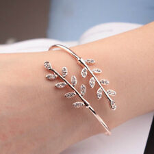 Women Bracelet Party Jewelry Rose Gold Leaf Bangles Adjustable Opening Bangles