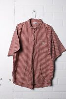 Lacoste Mens Vintage Short Sleeved Checked Shirt - Red - Size 4 - (L-P6)