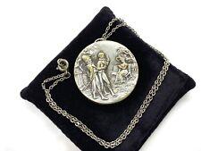 Mirror Pendant Necklace 10.4 grams Antique Georgian Silver Tone Courting Scene