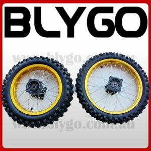 GOLD 12mm 14 Inch Front + 12 Inch Rear Wheel Rim + Tyre Tire PIT PRO Dirt Bike