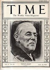 1923 Time November 12 Woodrow Wilson;New Mexico artists;7 destroyers go aground
