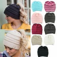 Women Beanie Tail Messy Soft Bun Hat Ponytail Stretchy Knit Crochet Skull Cap @A