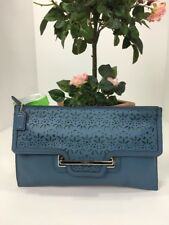 Coach Clutch Taylor Perforated Bag Eyelet Blue Leather Zip Large F51385 B21