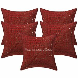 Decorative Sofa Cushion Covers Ethnic 40 x 40 cm Embroidered Cotton Set Of 5