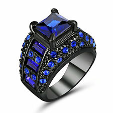Size 6 Black Wedding Engagement Ring sapphire Cluster Cocktail Party Jewelry
