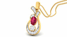 Pave 1.05 Cts Natural Diamonds Ruby Pendant In Solid Certified 14K Yellow Gold
