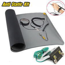Us Desktop Anti Static Esd Grounding Mat + Wrist Strap + Ground+ Coiled Cord Kit