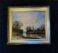 Original Painting on Canvas, Framed 'Morning Light' River Scene in Silver Frame