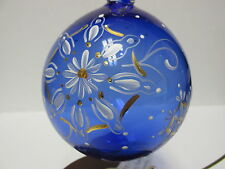 "1804ED -  Fenton's 4-1/2"" Hand Painted Christmas Ornament, in Cobalt Blue - NIB"