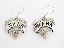 Nana Silver Plated Clear Crystal Heart Hook Earrings Jewelry Grandmother Grandma