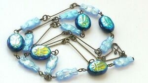 Czech Iridescent Blue Owl/Scarab Beetle Glass Bead Necklace Vintage Deco Style