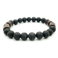 Men Women 8mm Lava Rock Yoga Beads Elastic Natural Stone Charm Wrist Bracelet