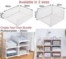 1/2/4 Multipurpose Stackable Sliding Basket Storage Trays Bedroom Home Office