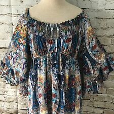 Boston Proper Dress Festival Coachella Southwest Feather Print BOHO Flare Sleeve