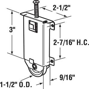 "PRIME LINE PRODUCTS N6630, 1-1/2"" Sliding Mirror Door Roller, Concave Edge"