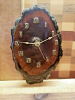 """Vintage Wood Tree Slice Lacquered Clock Working  7"""" x 4.5"""" x 2.5"""" MCM"""