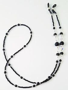 Beaded Eyeglass Chain/Holder~Classic Black and Silver~ Swarovski Crystal