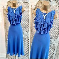 ET VOUS  UK 14 Cornflower Blue Ruffle Retro Fit & Flare Midi Tea Dress