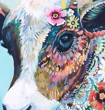 """Cow Colorful Animal wall art printed on canvas 22'' X 22"""" solid frame"""