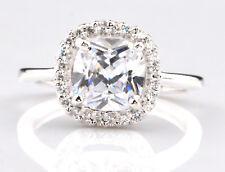 585er Weiß gold 2,20Kt atemberauben Kissen Form Solitär Verlobung Ring