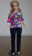 """Clothes for Curvy Barbie Doll. Shirt """"Hearts"""" print and leggings for Dolls."""