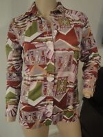 VTG 70's Little Indian Tribal Print Novelty Hippy Boho Shirt Blouse Top S