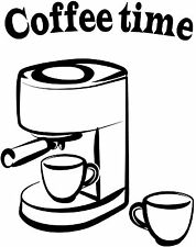 Coffee Maker Vinyl Decal Kitchen Sticker Kitchen Decor coffee time