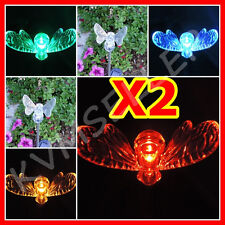 Set of 2 Solar Powered Bumble Bee Garden Yard Stake Pathway Lawn Light Led Sun i