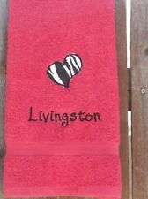 Personalized Embroidered Applique Zebra Print Heart Red Hand Towel