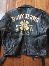 DKNY Vintage Leather Black Biker Motorcycle Painted Club 1993 Bomber Jacket